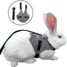 Moda coelhos colete cinza xadrez coelho arnês e trela 130cm algodão coelho colar correias pet tração corda para coelho s/m/l