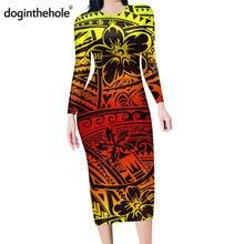 Doginthehole градиентный Самоа племенной узор облегающее платье