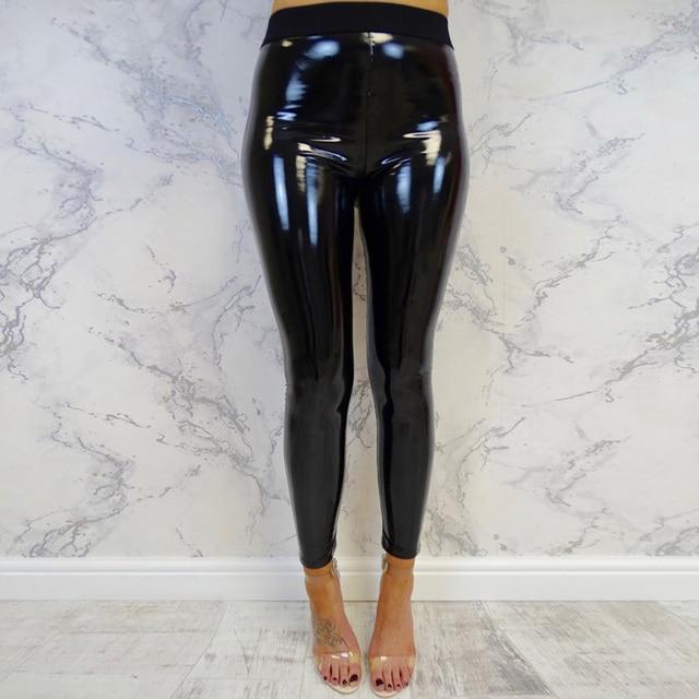 Fashion Ladies Women Vinyl PVC Wet Look Shiny High Waist Leggings Pants Clubwear
