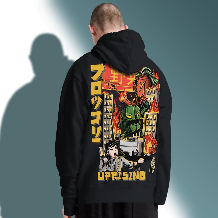 UPRISING Men Hip Hop Japanese Harajuku Cartoon Monster Streetwear Tops Cotton Oversized HipHop Hoodies, Sweatshirts