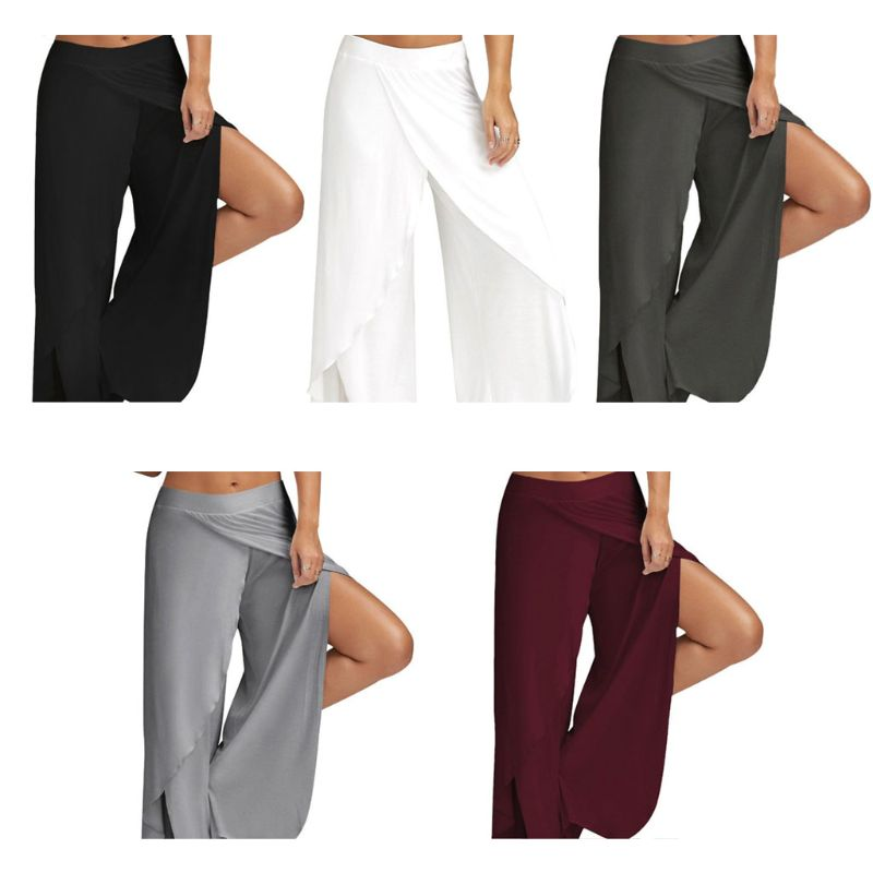 Women Wide Leg Cropped Pants Lady Sexy High Split Flowy Wrap Layered Sports Loose Trousers Casual Baggy Workout Loungewear M-5XL