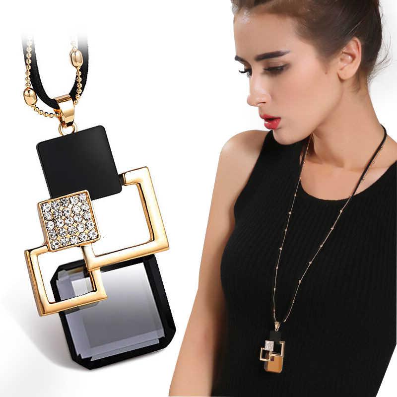Nova chegada colares longos para as mulheres 2019 moda cinza cristal gargantilha collier femme instrução colares & pingentes acessórios