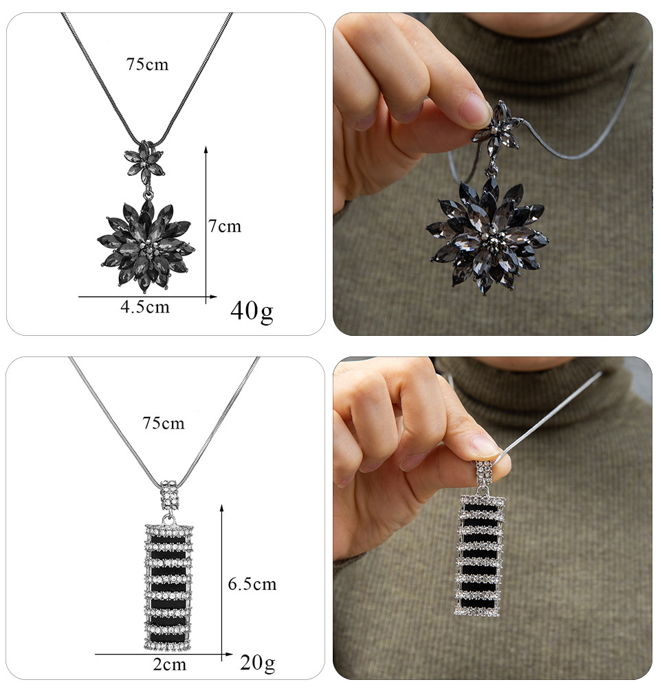 Simple Sweater Coat Necklaces Ladies Girls Long Black Leaf Natural Peacock Feather Crystal Pendant Necklaces for Women Jewelry  (122)