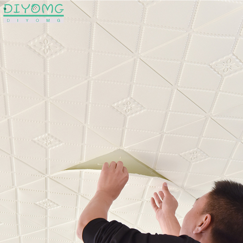 3D Waterproof Roof Wallpaper Self-adhesive TV Background Ceiling Wallpaper Contact Sticker Stereo Plafond  Roof Roof Decor Decal