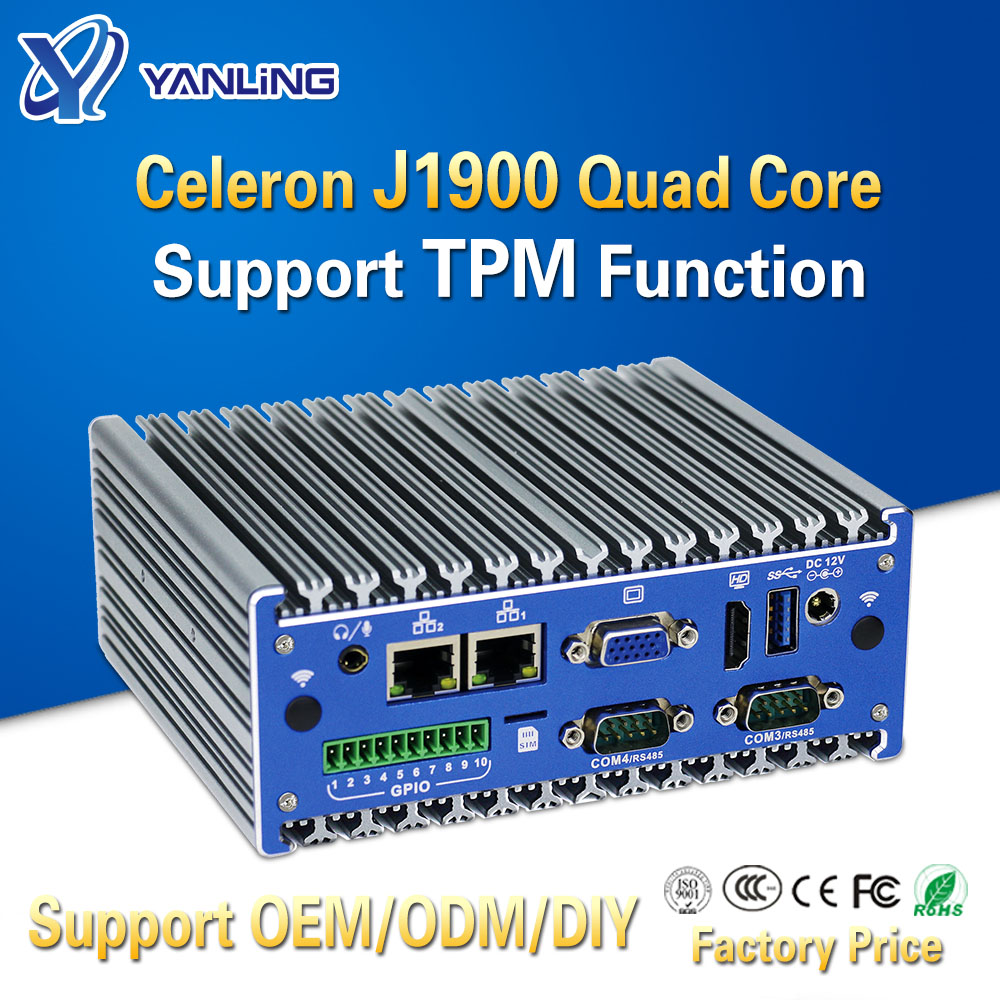 Yanling Fanless Mini PC Intel J1900 Quad Core Onboard 4G Ram 1*GPIO 4*RS232 COM Support TPM Function For Industrial IoT Computer