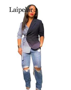 Laipelar Autumn Winter Women Long Sleeve Notched V-nek Striped Print Patchwork Blazers Vintage Office Lady Elegant Blazer Outfit