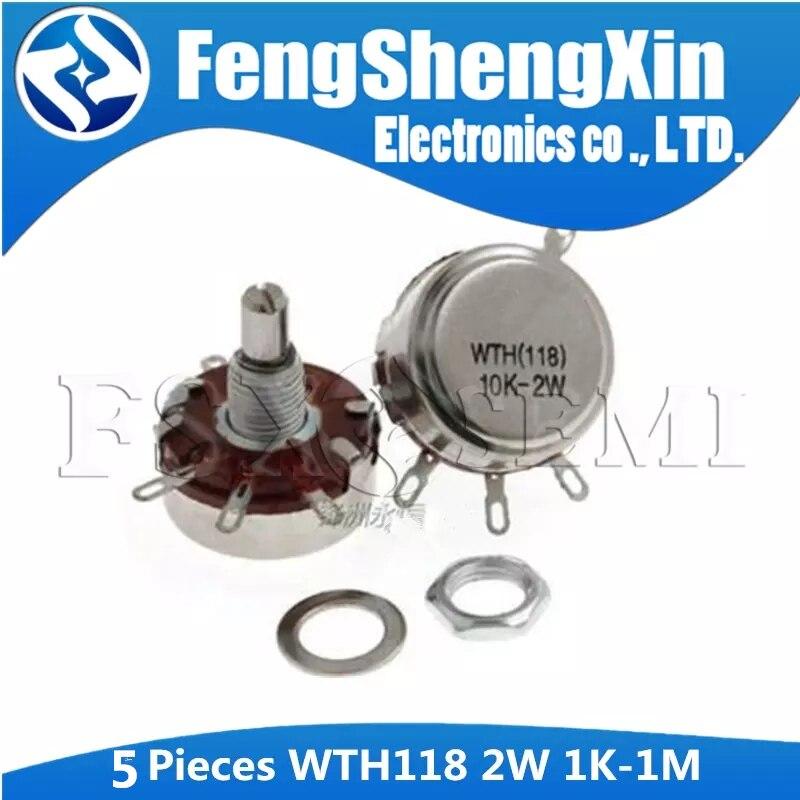 5 pces wth118 2 w 1a potenciômetro 1 k 2.2 k 4.7 k 10 k 22 k 47 k 100 k 470 k 1 m WTH118-2W eixo redondo carbono giratório potenciômetro do atarraxamento
