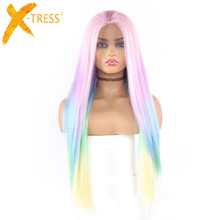 Ombre Pink Green Color Long Straight Lace Front Synthetic Hair Wigs Side