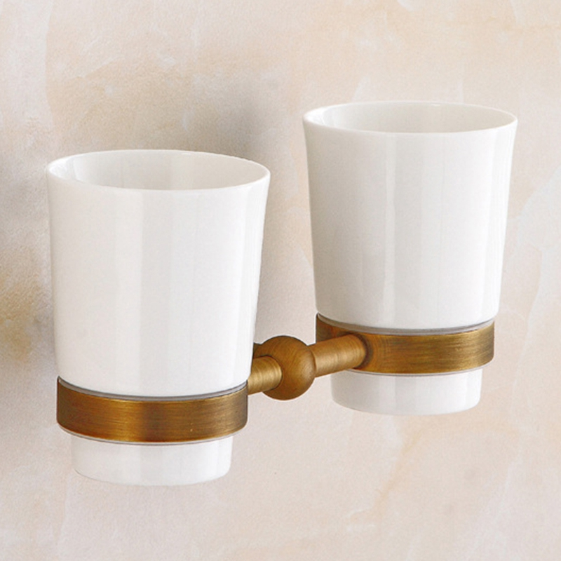 Fashion Toothbrush Holder Double Cup Brass Bathroom Family Toothbrush Cups Holder Set image