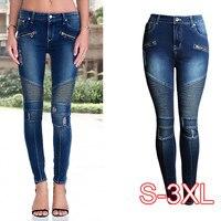 New Black Motorcycle Biker Zip Jeans Women's Mid High Waist Stretch Denim Skinny Pants Motor Jeans For Women Plus Size 3XL