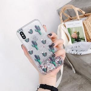 Image 3 - สีเขียว Botany รูปแบบแคคตัส Liquid quicksand Case โทรศัพท์สำหรับ iPhone 11 Lot PRO MAX x XR XS 8 7 6 6 S PLUS silversand โปร่งใส