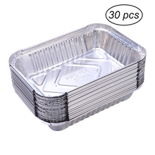 30pcs 570ml Disposable BBQ Drip Pan Tray Aluminum Foil Tin Liners for Grease Catch Pans Replacement Liner Trays Without Cover tanie tanio