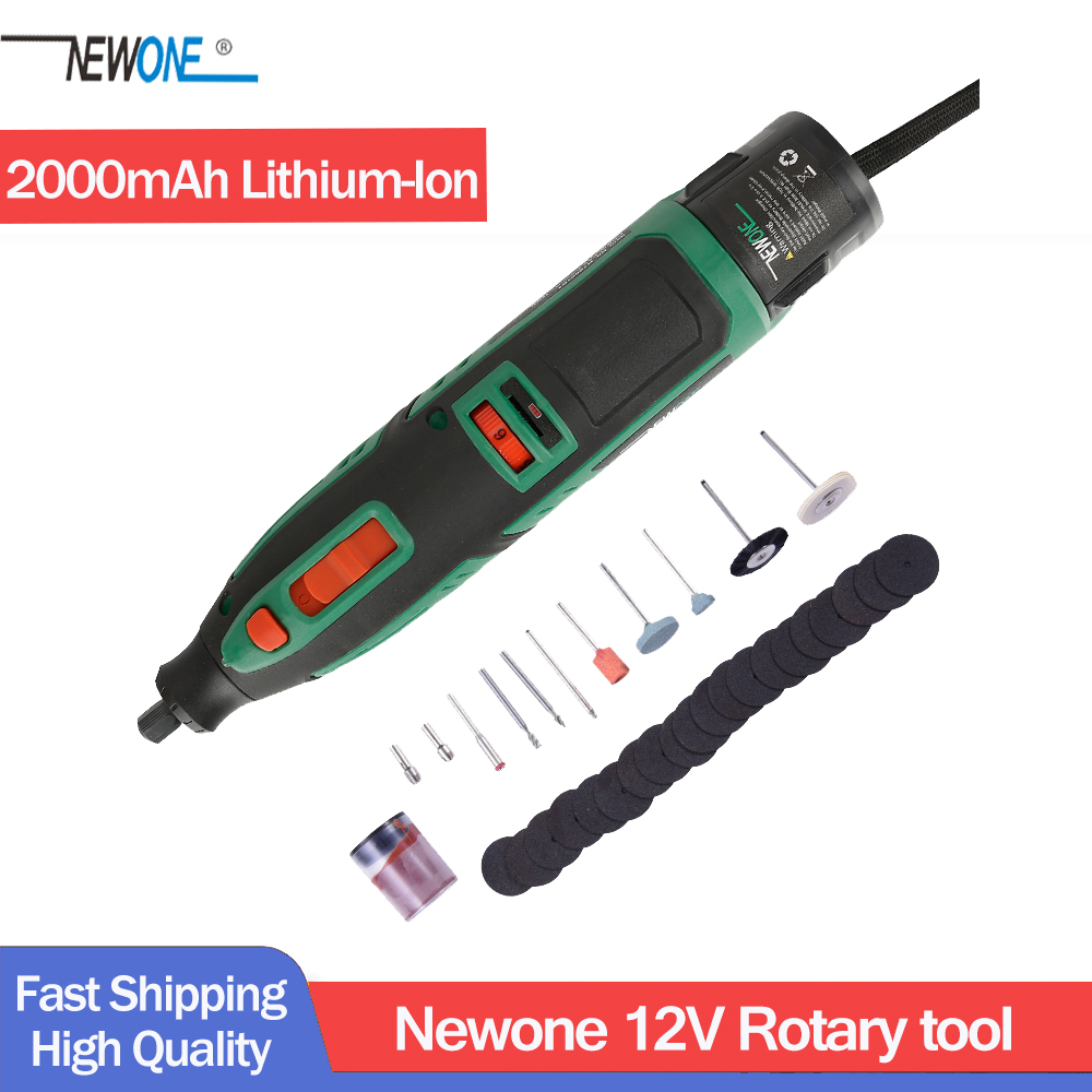 Newone 12V Lithium-Ion Cordless Rotary Tool Kit Electric Mini Drill With Six Speed Adjustment Portable Dremel Rotary Tool