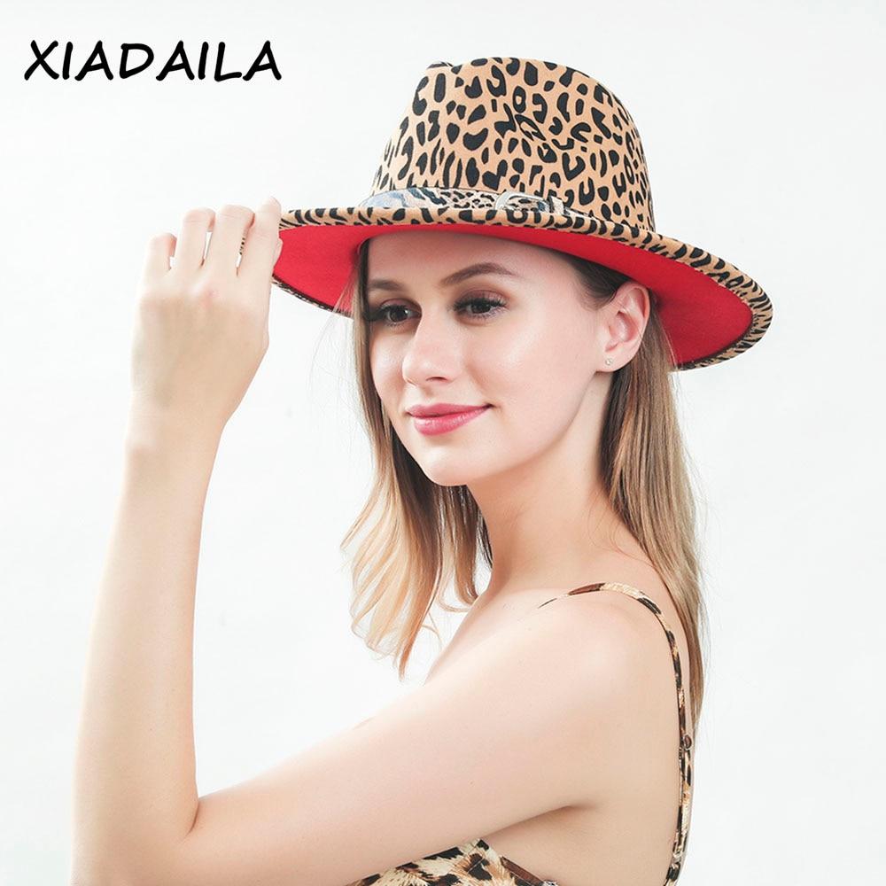 2020 winter fedora hats for women fashion Flat wide Brim Panama Wool Felt Jazz Fedora Hats for men Leopard goth top wedding Hat