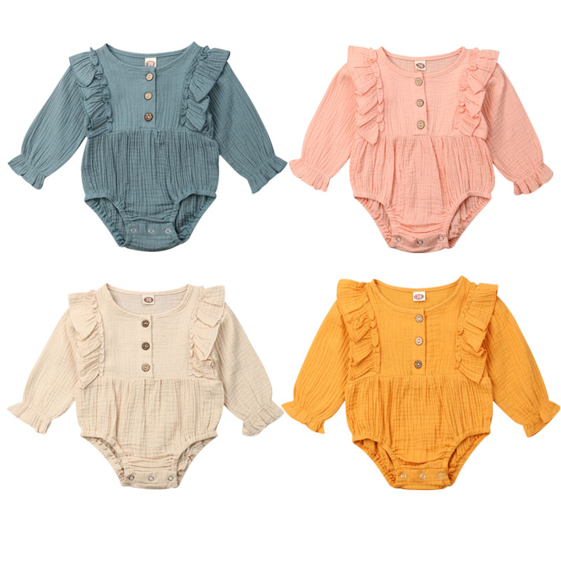 Pudcoco US Stock Fashion 0-24M Newborn Baby Girl Solid Bodysuit Petals Long Sleeve Cotton Jumpsuit Playsuit Fall Clothes Outfit