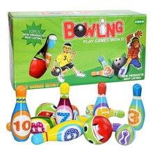 1 Набор детских игрушек для боулинга, кепка для боулинга и мячи, веселые безопасные развивающие игры из искусственной кожи для детей ясельно...