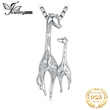 JewelryPalace Cubic Zirconia Mother and Daughter Giraffe Pendant Necklace Without Chain 925 Sterling Silver Fashion Gift
