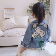 Kids Denim Coats Jackets Spring Girls Flower-Print Autumn Fashion Child Cute for Sweet
