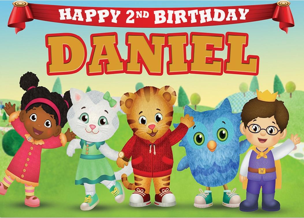 7x5ft Personalized Happy Birthday Neighborhood Daniel Tiger World Custom Photo Studio Backdrop Background Vinyl 220cm X 150cm Background Aliexpress