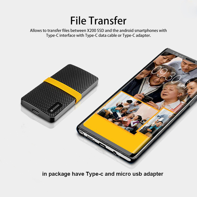 Kodak USB3.1 Type-c Portable ssd 1tb external hard drive 512GB Gen 2 SSD Hard Drive 256GB Solid state drive for Laptop Macbook 3