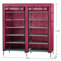 Single Shoe Rack Shoes Cabinet Stand Standing Storage Organizer Furniture (Wine red)