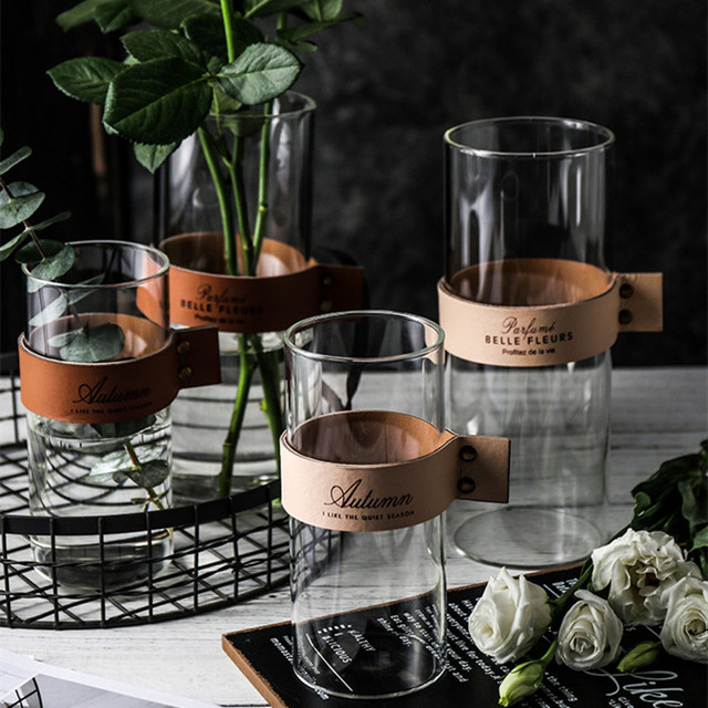 CuteLife Nordic Transparent Flower Glass Vase Living Room Flower Table Vase Glass Home Decoration Water Hydroponics Plant Vase 4