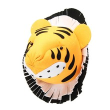 Tiger 3D Felt Animal Head Figurines Statues Ornaments For Birthday Party Christmas Children Room Wall Hanging Decor Gift(China)