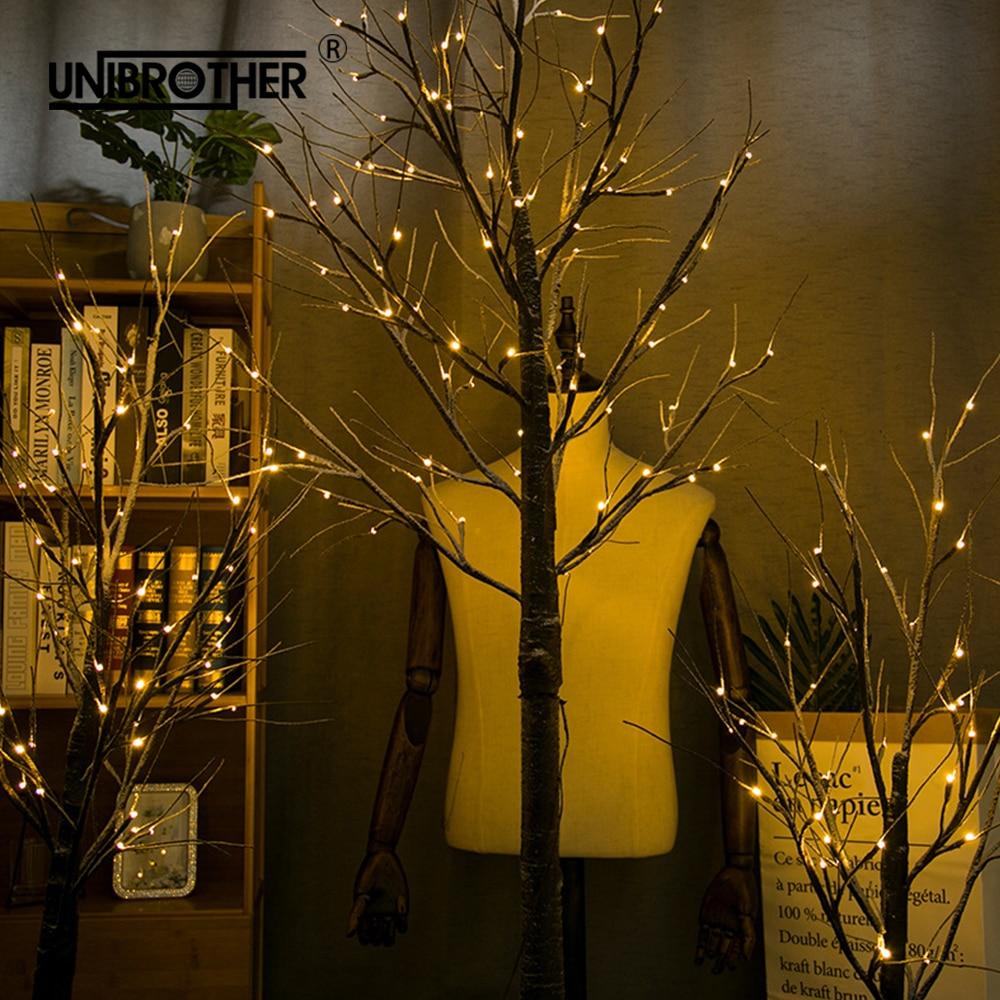 Snow Tree Lamp Night Light Christmas Decorations For Home LED Birch Festival Modern Indoor Holiday Fairy EU US Plug