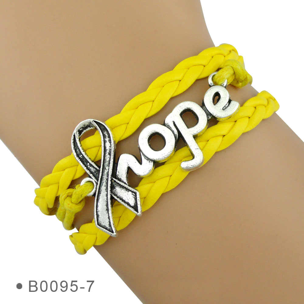 אפור כתום ורוד צהוב כחול לבן טורקיז סגול אפור שחור זהב אדום מחלת סרטן מודעות מקווה צמידי סרט לנשים