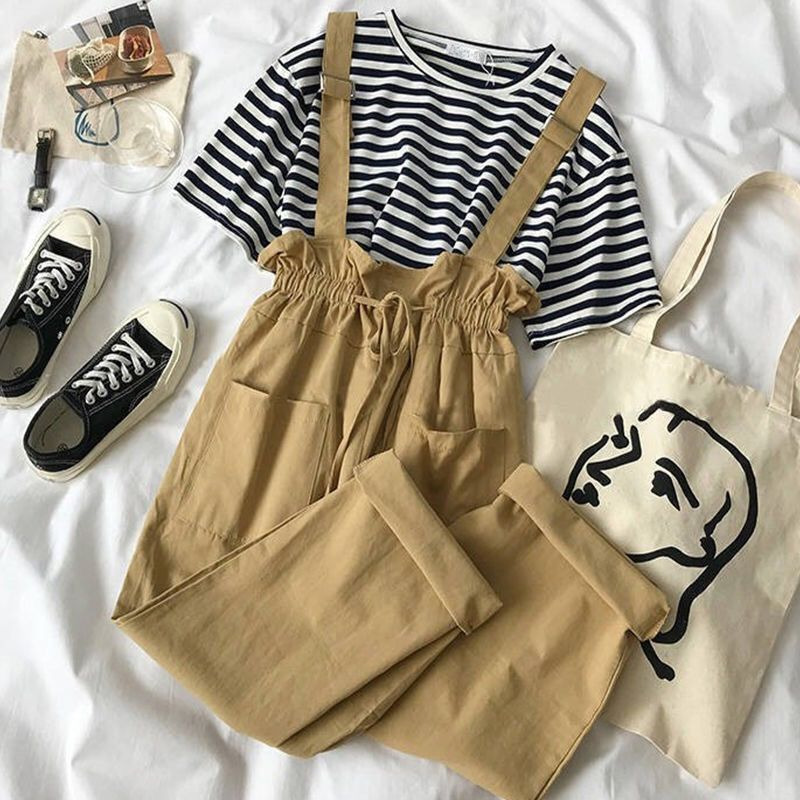 Women 2020 Summer Pants Set Female Striped T-shirt + Fashion Overall Pants Outfits Ladies Fashion Casual 2 Pieces Sets Suit L183