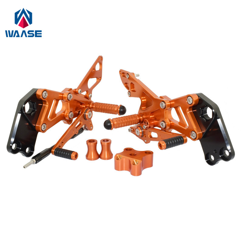Waase Motorcycle Adjustable Rider Rear Sets Rearset Footrest Foot Rest Pegs For KTM RC125 RC200 RC390 2014 2015 2016 2017 2018