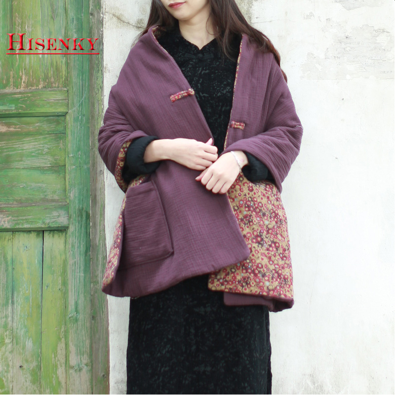 Hisenky Winter Cape Scarf Women Pashmina Quilted Scarves Warm Tippet Spring Coat Single Button Autumn Shawls Reversible Pockets