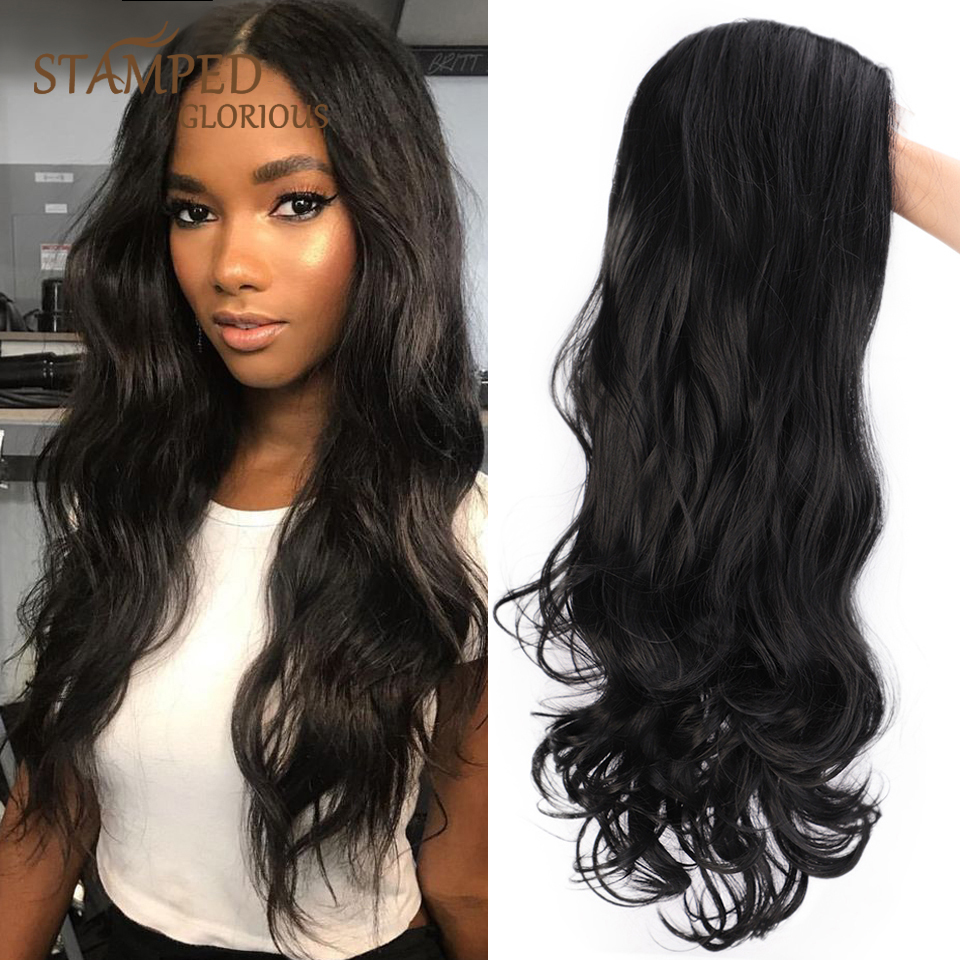 Stamped Glorious Lace Front Wig Long Black Wig Synthetic Water Wave Wig For Women Middle Part Natural Heat Resistant Fiber Hair