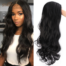 цена на Stamped Glorious Lace Front Wig Long Black Wig Synthetic Water Wave Wig for Women Middle Part Natural Heat Resistant Fiber Hair