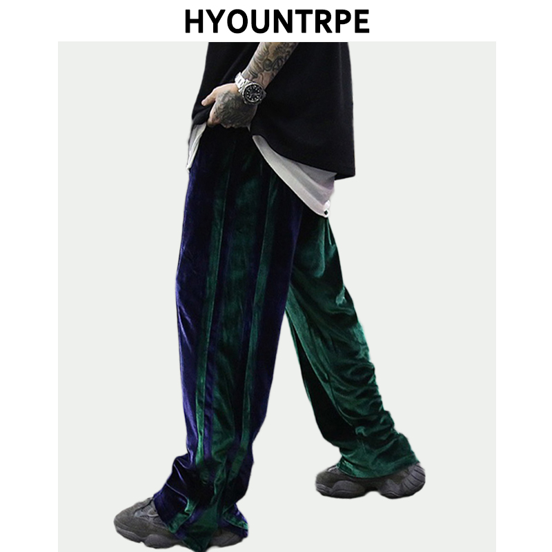 Bottom Zipper Velvet Wide Leg Pants Men Side Spliced Stripe Straight Trouser Loose Casual Elastic Waist Pants Hip Hop Streetwear