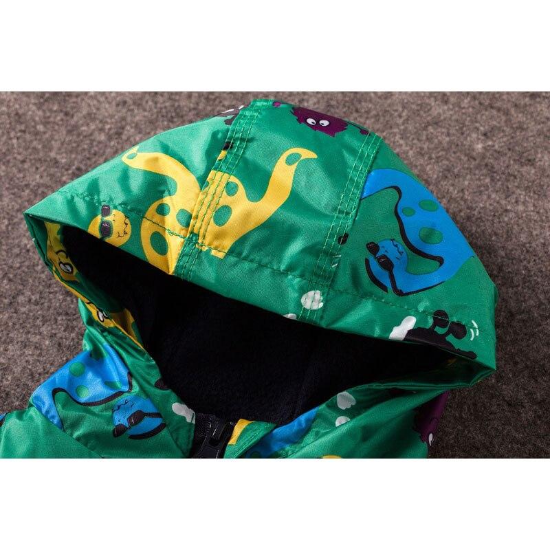 Children Autumn Winter Outerwear Clothing Boys Dinosaur Hooded Rainsuit Rain Jacket Baby Kids Sports Outing Coats Infant Wearing 3