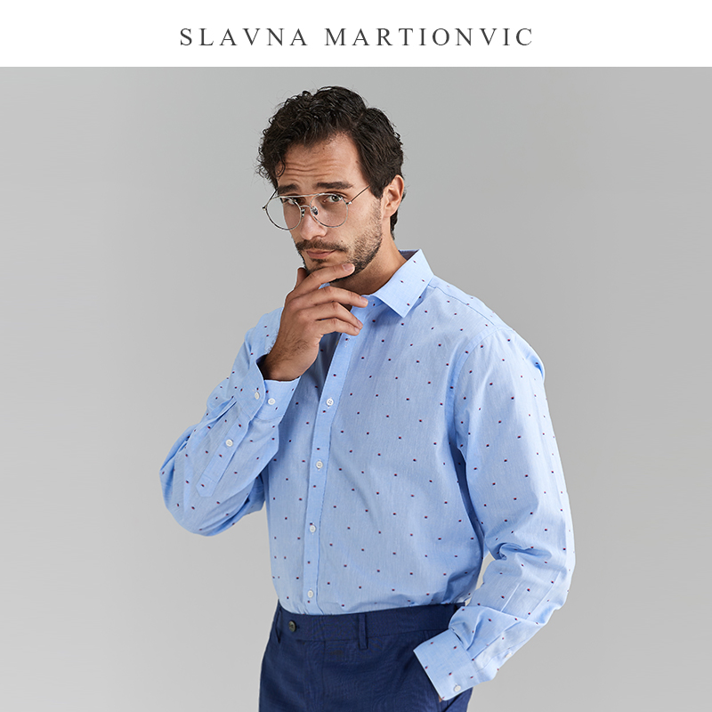 Slavna Martinovic Blue Casual Business Men's Shirt Fashion Hawaiian Shirt Men  Dress Shirts Long Sleeve