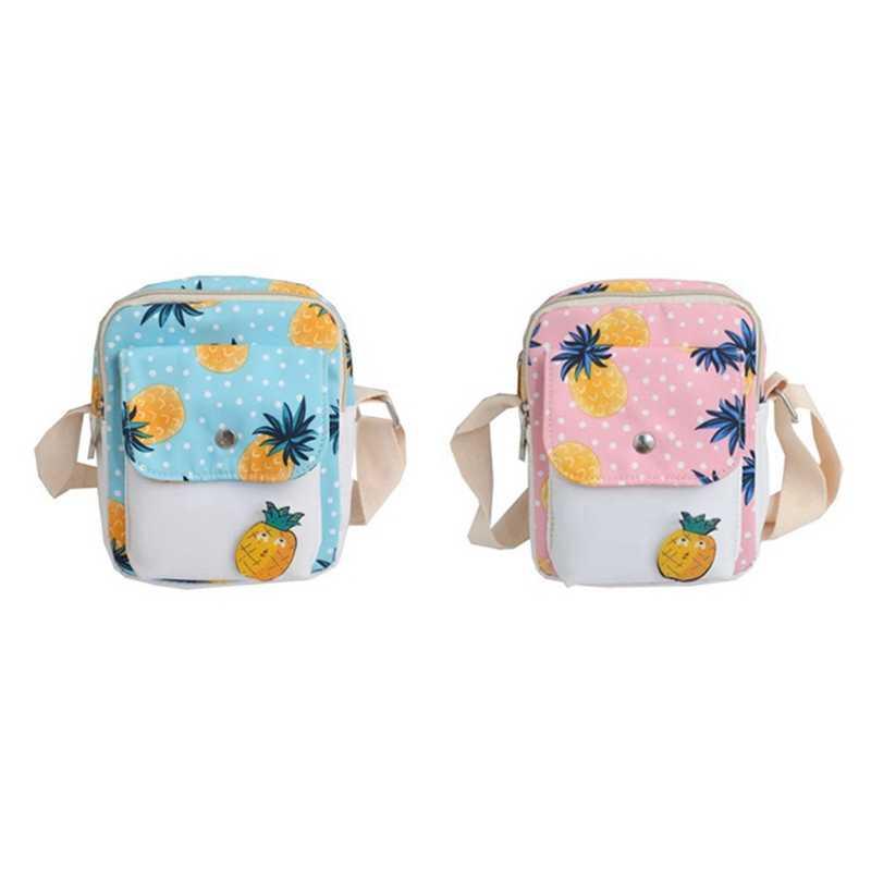 Fresco e bonito dos desenhos animados fruta abacaxi bolsa de ombro engraçado menina saco do mensageiro do telefone móvel pequena bolsa