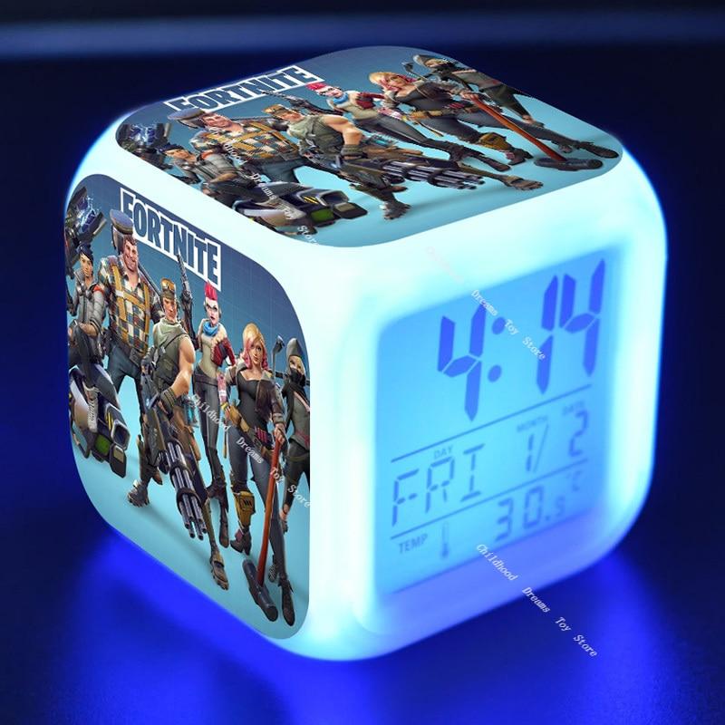 2020 Fortnite LED brillant alarme pour enfants chambre décoration enfants numérique brillant réveil pour bureau décor électronique horloge