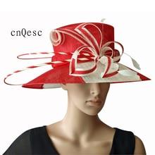 Новые цвета слоновой кости/красный два тона Широкое Платье с полями Sinamay шляпы церкви шляпы, для гонок, свадьбы и церкви