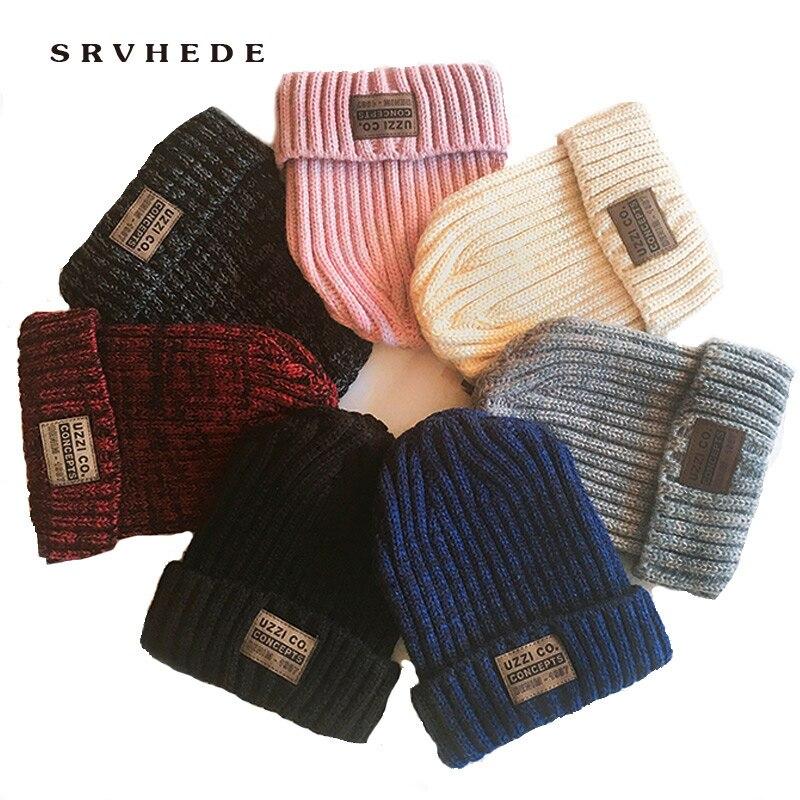 Модные зимние шляпы для женщин, повседневные шапочки для мужчин и женщин, теплая вязаная зимняя шапка, модная однотонная хип хоп унисекс шапка бини