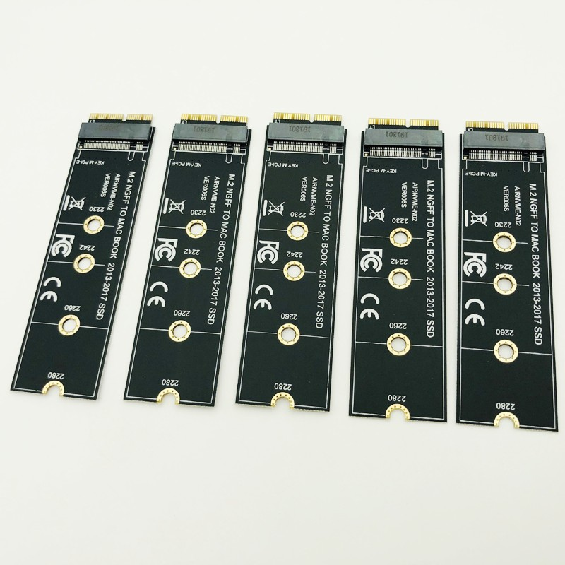 5PCS NVME M2 SSD Adapter Convert Card For MacBook Air Pro Retina 2013-2017 NVME/AHCI SSD Upgrade Kit For A1465 A1466 A1398 A1502