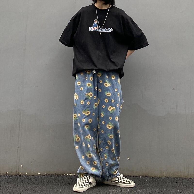 K-pop Sunflower Printed Loose Denim Jeans 2