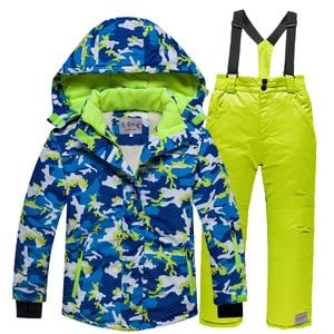 Image 4 - Лыжные костюмы для мальчиков 2020, флисовые куртки с капюшоном, комбинезоны, детские зимние комплекты, водонепроницаемый спортивный детский лыжный комплект одежды, ветрозащитная одежда