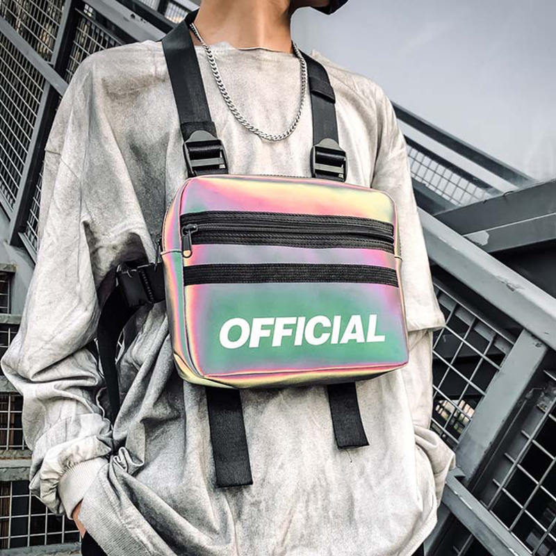 Women Trendy Chest Rig Bags 2019 New Reflective Vest Hip-hop Streetwear Chest Bag Lady Waist Bags Men Tactical Chest Pack Female