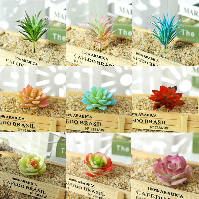 1pcs Multiple Styles Mini Artificial Flocking Succulent Plants Flower Wall Potted Diy Home Decoration Office Decor Arrangements