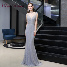 Luxury Gown Trumpet Evening-Dresses Heavy-Beaded De-Soiree Formal Sexy Long Sleeveless