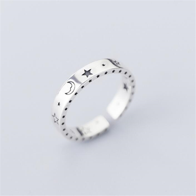 Sole Memory Retro Thai Silver Shiny Moon Stars Smile Smiley 925 Sterling Silver Female Resizable Opening Rings SRI552