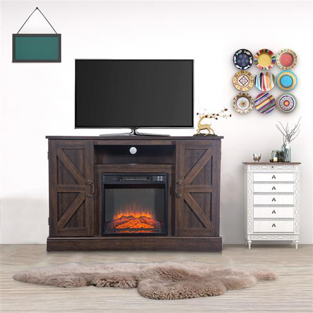 47'' Log Brown TV Cabinet with 1400W Fireplace Heater  6