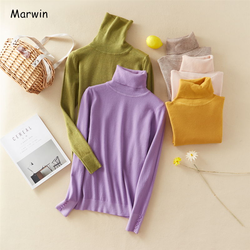 Marwin New-Coming Winter Tops Solid Button Turn-down Collar Pullovers Female Thick Turtleneck Knitted High Street  Women Sweater